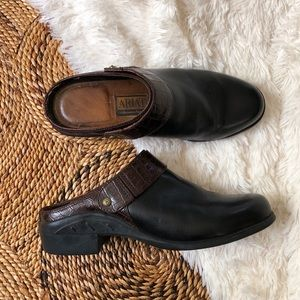ariat black leather mules clogs slip ons
